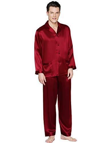 ElleSilk Herren Seide Pyjama Set, Schlafanzug Langärmlig Herren, 100{6942f2996cba0cd8ee943fbde37d1b5b8e4be706f49f3c52a798db961c06a34a} Natürliche Maulbeerseide, Antiallergen, Weinrot, XXL