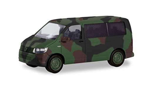herpa 700702 Volkswagen VW T6 Bus Flecktarn Bundeswehr Flugzeug/Wings in Miniatur zum Basteln Sammeln und als Geschenk, grün, tarnfarbig