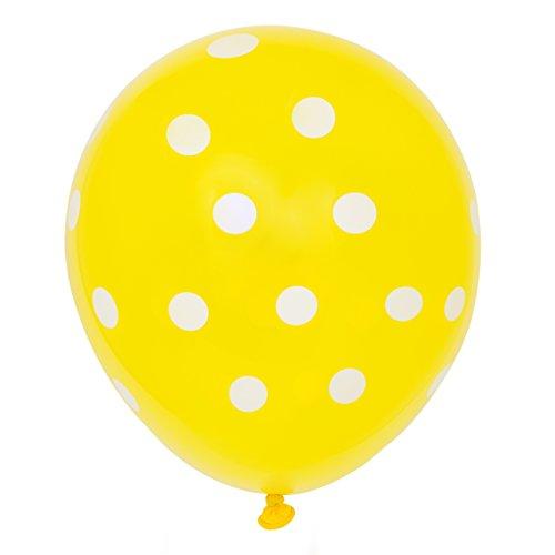 Gepunktete Latex-Luftballons - 30 cm - Gelb - 6er-Pack