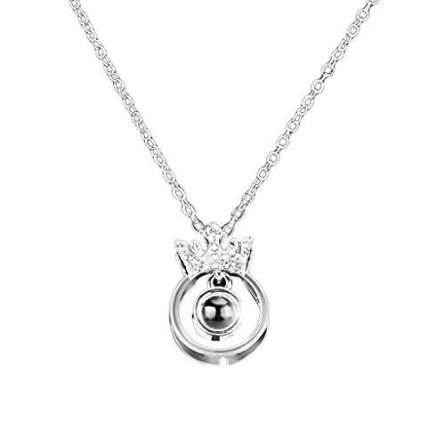 Hunpta - Collar de plata de ley con colgante de proyección en 100 idiomas, regalo de amor, regalo de San Valentín, regalo de memoria (plata)