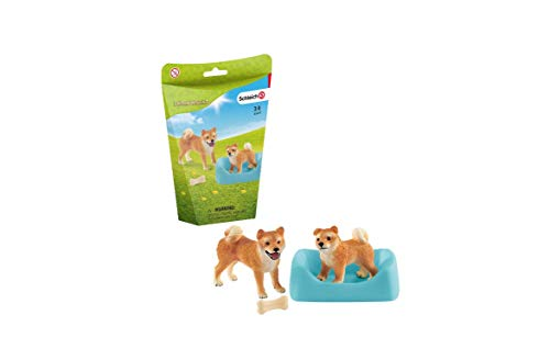 Schleich Farm World Shiba inu Mother and Puppy 4-piece Educational Playset for Kids Ages 3-8