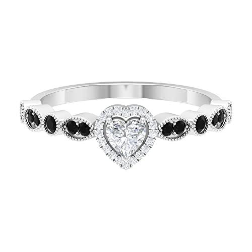 Anillo de diamante en forma de corazón de 1/2 quilates con piedras laterales de espinela negra (calidad HI-SI), oro blanco, espinela negra, tamaño: UK J1/2