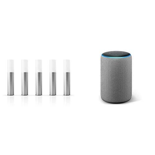 Echo Plus tessuto grigio scuro + Osram Smart+ Kit Base Mini Lampione da Giardino, 4.2W, Luce RGBW, Argento, Confezione da 5 Pezzi