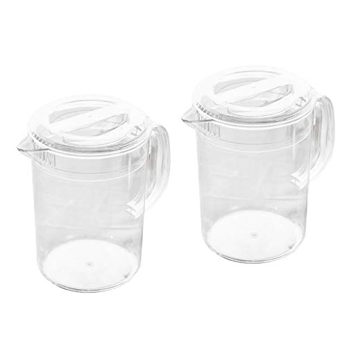 Milageto Lotti 2 Jarra de acrílico transparente con tapa para agua, té, limón, bebida, 2 L