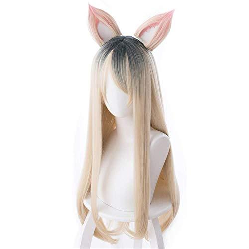KDA Women's Team LOL MV version of a beaver dyed long hair ear Cosplay Anime Wig