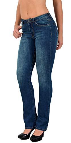 ESRA Damen Jeans Bootcut Jeanshose Schlaghose Damen High-Waist bis Übergröße B700