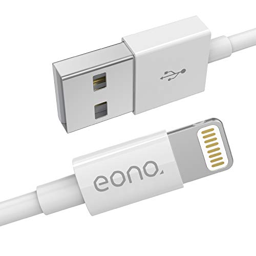 Eono Cable Lightning Cable Cargador de iPhone - [Certificado MFi de Apple] 3.3ft/1m Cargador líder de iPhone Cable de Carga Rápida para iPhone XS MAX X XR 8 7 6s 6 Plus SE 5 5s 5c, iPad, iPod-Blanco