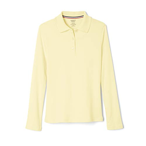 French Toast Girls' L/S Fitted Knit Polo with Picot Collar - Yellow, 18/20