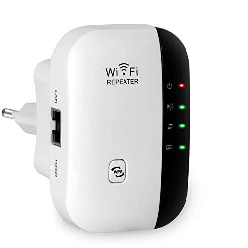 Fanlce WLAN Repeater, Wireless Netz Signal Verstärker 300Mbit/s, mit LAN Port/WPS Taste/Repeater/AP-Modus WLAN Verstaerker WiFi Signalverstärker kompatibel mit Allen WLAN Geräten