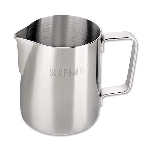 Schramm® Milchkännchen Milchkanne Edelstahl 350ml Milch aufschäumen Krug Aufschäumkännchen mit Baristastift Milchschaum Latte Macchiato Cafè Latte silber