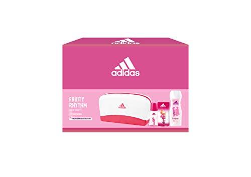 Adidas, Confezione Regalo Donna Fruity Rhythm, Eau de Toilette 30 ml, Gel Doccia Bagnoschiuma 250 ml, Trousse da Viaggio