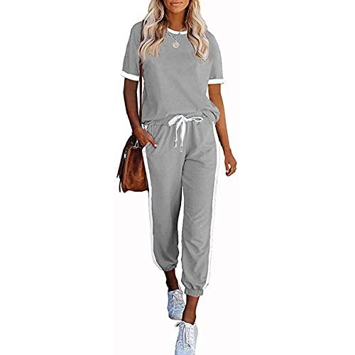 wenyujh Conjunto de chándal para mujer, 2 piezas, camiseta de manga corta con pantalones largos, ropa deportiva, chándal, ropa deportiva para mujer A-gris claro. L