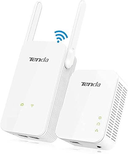 Tenda PH5 KIT AV1000 Gigabit Powerline Adapter Kit mit WLAN Through (1 Gbit/s, 4 Gigabit LAN Ports, 300 Mbit WLAN, kompatibel mit Adaptern anderer Marken, 2er Set) weiß