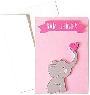 Baby shower girl - elefantino - fiocco rosa - bambino - biglietto d'auguri (formato 15 x 10,5 cm) - vuoto all'interno, ide...