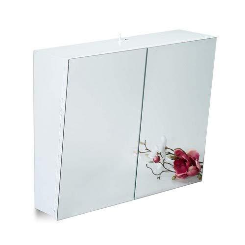Relaxdays tweedeurs spiegelkast badkamer, hangkast, badkamerspiegelkast met stopcontact, staal, HBT 50 x 60 x 18 cm, wit