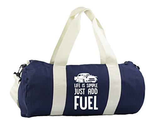 Hippowarehouse Life is simple just add fuel car Gymwear Gym Duffle Cylinder Uniform Kit Bag 50 x 25 x 25cm 20 litres