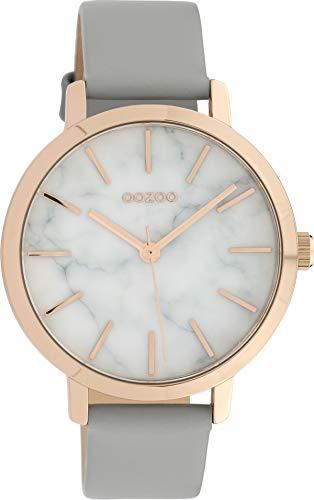 Oozoo Damenuhr mit Marmor Look Zifferblatt und Lederband 38 MM Rose/Marmor/Hellgrau C10111