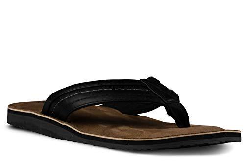 Khombu Charlie Engineered Leather Flip Flops for Men, Flat Comfort Suede Sandals Black, 10