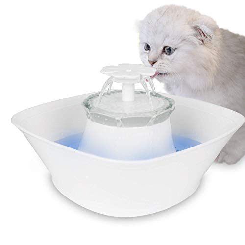 iPettie Clover LED Light Pet Water Fountain | Ultra Quiet Water Dispenser for Cats and Dog丨Two Way Power Drinking Fountain with 0.6 Gal Large Capacity