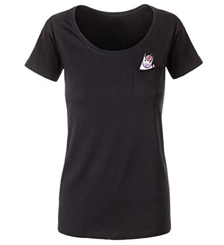 Generic Hochwertiges Damen Shirt mit Einhorn in der Brusttasche