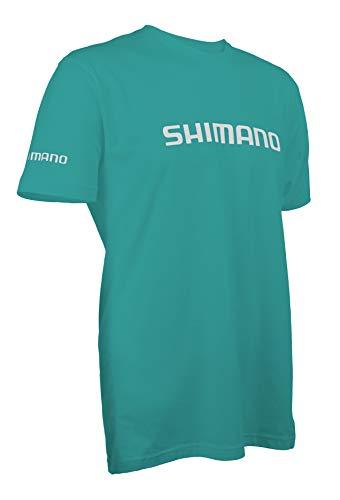 Shimano Kurzärmeliges Baumwoll-T-Shirt für Angelausrüstung, Herren, Tahiti Blau, Small