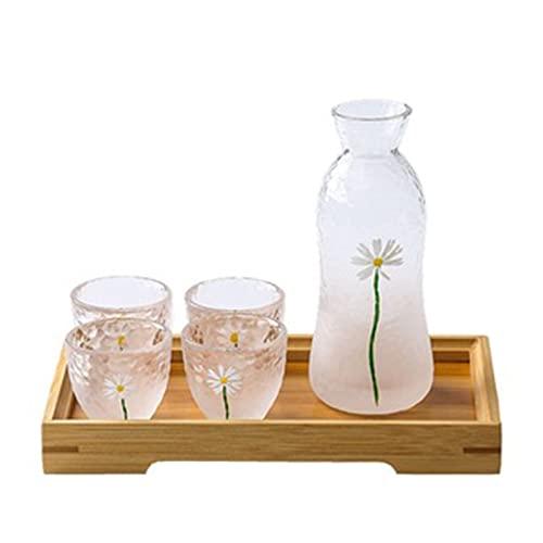 QJF Juego de copas de vino con calentador, nublado de vidrio pequeño para el hogar, vasos de vino pequeños para uso doméstico