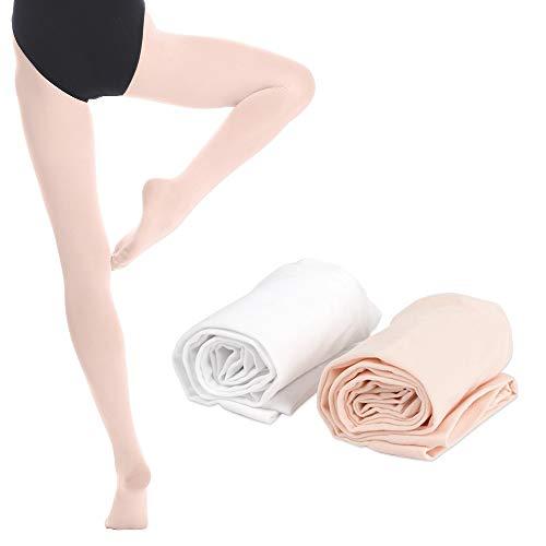 Bezioner 2 Paar Kinder Ballett Strumpfhose Tanzstrumpfhose mit Fuss fur Kinder und Damen,Weiss 1 Paar Apricot 1 Paar,M