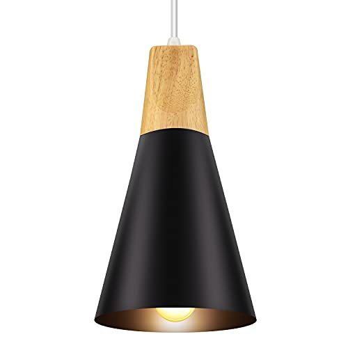 Lámpara de techo industrial, plafón industrial estilo nórdico de madera y aluminio, iluminación interior, decoración para oficina, cafetería, restaurante, hotel, dormitorio, comedor (negro)