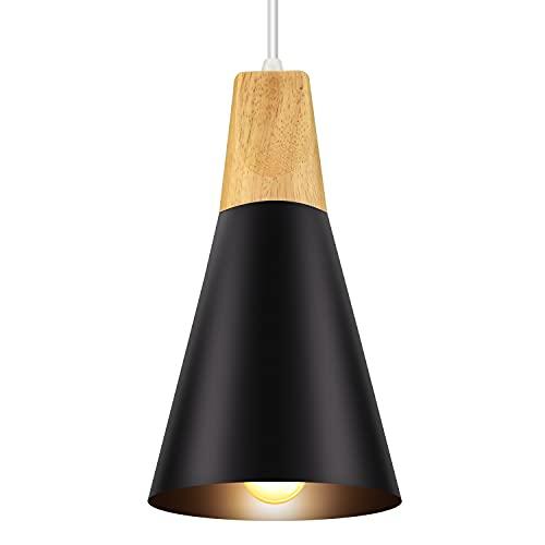 Lampadario a sospensione industriale, stile nordico, in legno e alluminio, illuminazione interna,...