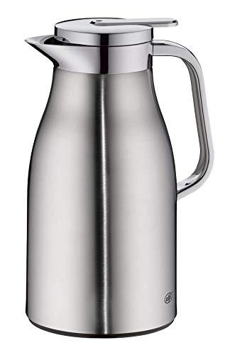 alfi Skyline, Thermoskanne Edelstahl mattiert 1l mit doppelwandigem alfiDur Vakuum-Hartglaseinsatz. Isolierkanne hält 12 Stunden heiß, ideal als Kaffeekanne oder als Teekanne - 1322.205.100