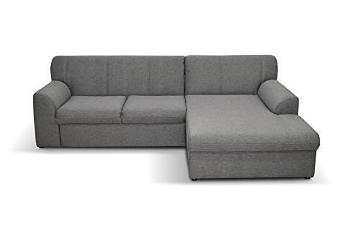 DOMO. collection Topper Ecksofa, Sofa, Couch in L-Form, kleine Polsterecke mit Schlaffunktion, Eckcouch, Polstergarnitur, grau, 245 x 155
