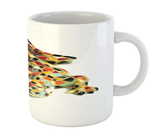Lunarable Retro Mug, Miniature Gaudi Lizard Ceramic Mosaic Inpspired Graphic Tiles Barcelona Artwork, Ceramic Coffee Mug Cup for Water Tea Drinks, 11 oz, Beige