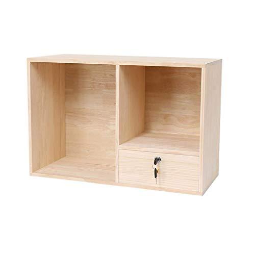 HYY-YY Estantería de escritorio de madera maciza, estantes de exhibición de pie para escritorio con cajón, estantería de bambú
