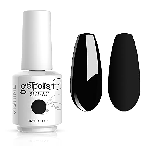 Vishine Gelpolish Professional Manicure Salon UV LED Soak Off Gel Nail Polish Varnish Color Black(1348)