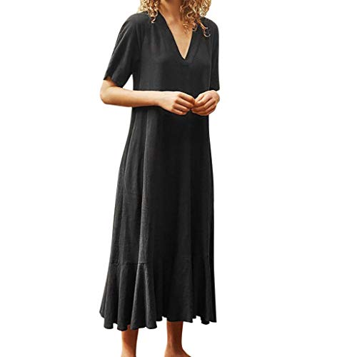 Best Buy! JULYKI Women Casual Midi Dresses Flowy Pleated Short Sleeve Plus Size Dress Pockets Back T...