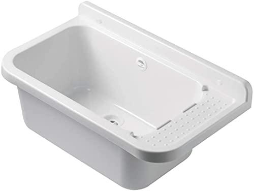 VBChome Ausgussbecken 50 x 34 x 21 cm Weiß Spülbecken Waschtrog mit Überlauf Waschbecken für Gewerbe Waschraum Garten inkl. Ablaufgranitur