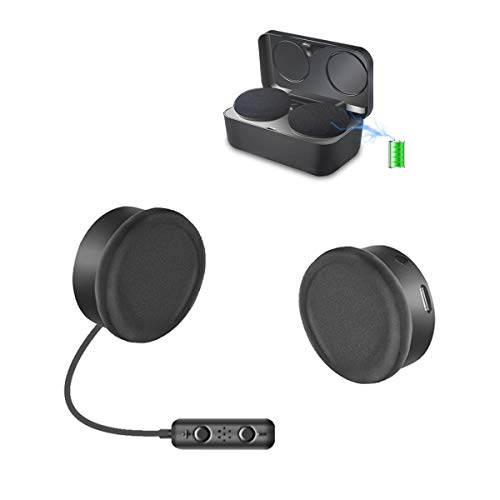 OUTAD Motorcycle Bluetooth Speakers, True Wireless Helmet Headset Stereo with Music Call Voice Assistant Control, Deep Bass HiFi Quality Sound, with Charging Case and Velcro Attachments