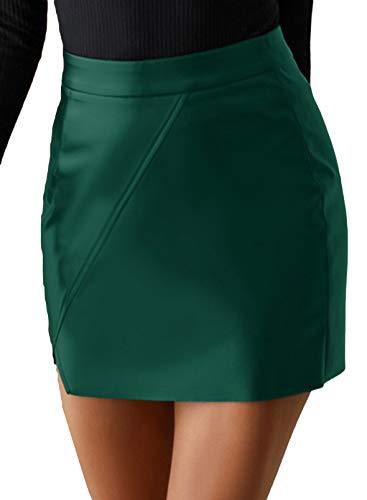 CORAFRITZ Mini falda bodycon de cintura alta para mujer de piel sintética de cintura alta