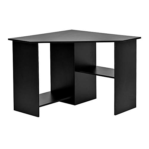 YYHH Home Office Corner Desk Computer Workstation PC Laptop Table with Shelves, Black