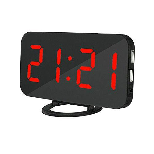 DIYARTS Spiegel Wecker Digital Dual USB Ausgang Lade Induktion Dimmen Snooze Clock für Büro Schlafzimmer (Black+Red)