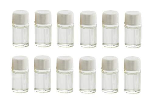24 piezas (5/8 Drama) 2 ml pequeño transparente lindo mini cristal esencial botella de aceite vialls tarros con reductor de olores y capazos muestra recipiente para aceites esenciales perfumes