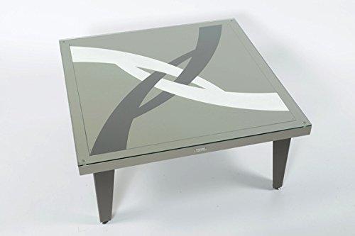 Styl'Métal 21 Table Basse Illusion 100x100 métal Chocolat, Taupe et Blanc