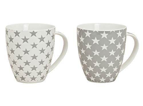 XXL Kaffeetasse 650 ml - 2er Set - Kaffeebecher mit Stern Design - Jumbo Tasse Porzellan Becher Weihnachtstasse Sterne