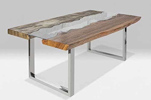 Esstisch Holz Tisch Baumkante Schreibtisch Massivholz mit Glas River 200 x 115 cm (Natur-Grau)