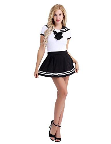 Freebily Damen Schulmädchen Kostüm Baby & Windel Liebhaber Uniform Kostüm Kurzarm Reizwäsche Strampler mit Mini Faltenrock Dessous Set Cosplay Kostüm Schwarz XL
