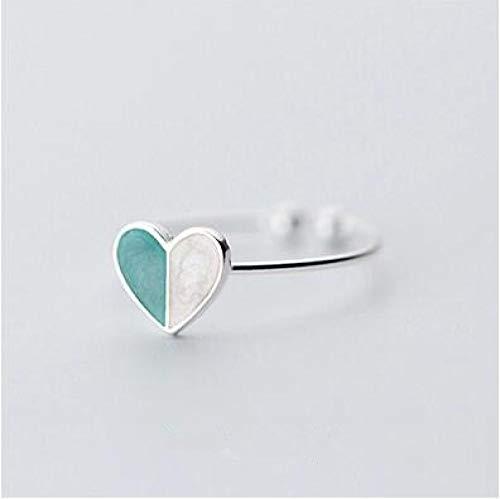 LXLLXL Offene Ringe Für Damen,Vintage Einstellbare Öffnen Silver Heart-Shaped Mosaik Hit Grün...