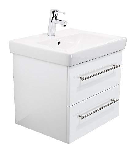 Villeroy & Boch SUBWAY2-0-55CM000101DE Waschbecken mit Unterschrank, Holz, weiß hochglanz, 55 x 45 x 44 cm