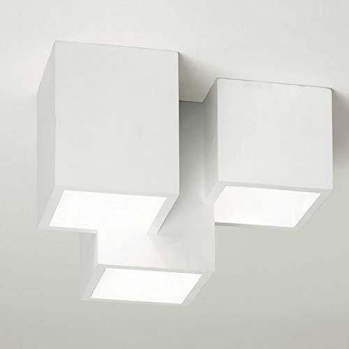 Plafoniera moderna lampada soffitto 3 cubi gesso luce LED 24W GU10 ingresso 230V