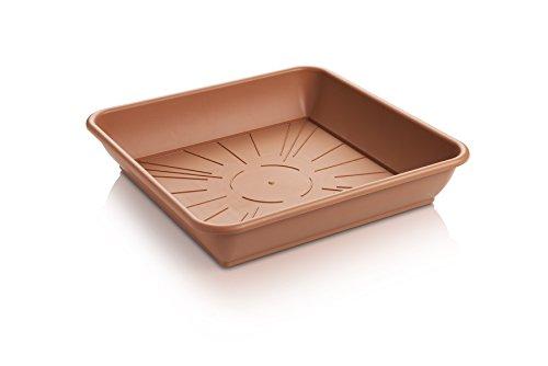 Erhard-Trading Blumentopf-Untersetzer Quattro eckig Terracotta quadratisch aus Kunststoff (Gr. 2)