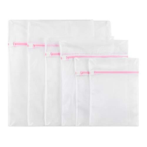 GoFriend 6er-Set, wiederverwendbare Wäschesäcke mit Reißverschluss Großes feines Netz zum maschinellen Waschen von Dessous, Strumpfhosen, Socken und Unterwäsche, Weiß, 25cm x 23cm x 2cm